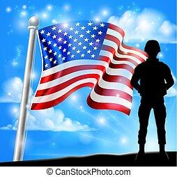 pojęcie, amerykanka, żołnierz, bandera, tło, patriotyczny