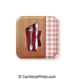 pojęcie, appetit, bon, ikona, wektor, projektować, kuchnia