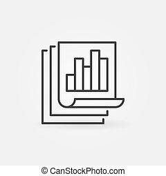 pojęcie, bar, linearny, handlowy, wykres, wektor, zameldować, ikona