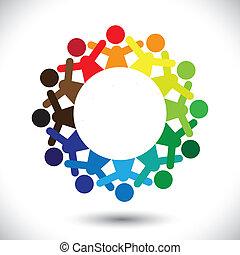 pojęcie, barwny, ikony, graphic-, abstrakcyjny, dzieci, wektor, interpretacja