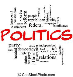 pojęcie, beletrystyka, chmura, polityka, słowo, czerwony