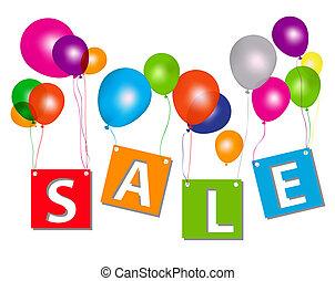 pojęcie, beletrystyka, illustration., discount., sprzedaż, wektor, balony