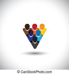 pojęcie, biurowe ludzie, współposiadanie, integralność, sieć, &, -, media, również, jedność, vector., internet, barwny, pokaz, online, pracownicy, wyobrażenia, graficzny, personel, to, etc, współposiadanie, towarzyski