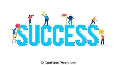 pojęcie, czyny, powodzenie, ludzie, scena, litery, teamwork, mały