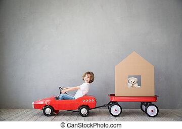pojęcie, dom, dziecko, ruchomy, nowy dom, dzień