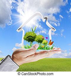 pojęcie, dom, ręka, zielony, ludzki, widać