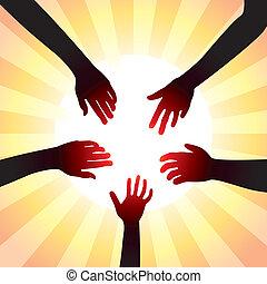 pojęcie, dookoła, słońce, wektor, siła robocza, przyjacielski