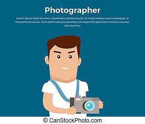 pojęcie, fotograf, wektor, chorągiew, illustration.