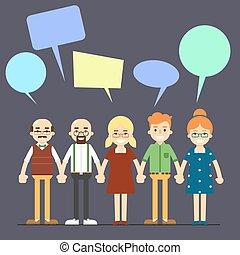 pojęcie, gaworząc, ludzie, komunikacja