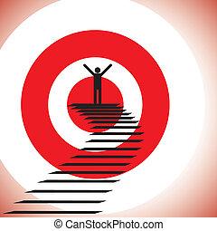 pojęcie, gol, powodzenie, &, osiąganie, challenge., ilustracja, zwycięski, osoba, graficzny, detemined, zaufany, widać, dokonując, tarcza