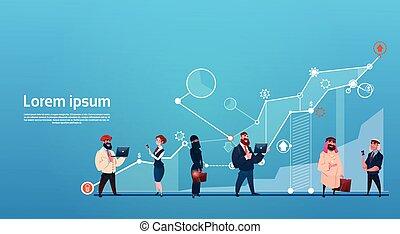 pojęcie, grupa, finanse, handlowy zaludniają, wykres, powodzenie, gadżety, zmieszać, prąd, używając, finansowy