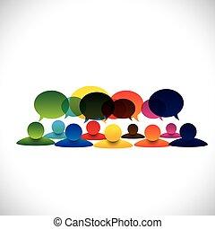 pojęcie, grupa, ludzie mówiące, wektor, pracownik, dyskusje, albo