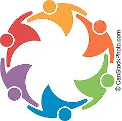 pojęcie, grupa, ludzie, zjednoczenie, praca, 6, drużyna, circle.