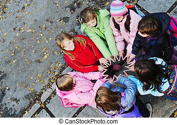 pojęcie, grupa, młody, uczennice, teamwork, przyjaźń