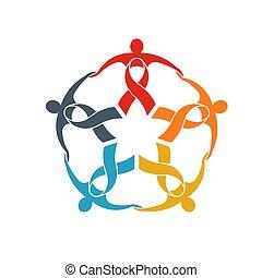 pojęcie, grupa, silny, poparcie, wstążka, teamwork, współposiadanie, piątka, chodzenie, ludzie, logo.