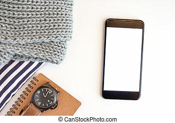 pojęcie, handlowa powierzchnia, praca, wykres, laptop, mieć, smartphone.