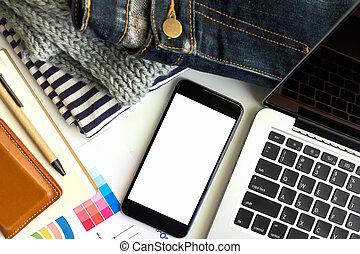 pojęcie, handlowa powierzchnia, praca, wykres, laptop, ognisko., selekcyjny, mieć, smartphone.