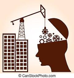 pojęcie, handlowy, inteligencja, concept., mózg, mechanizmy, construction.
