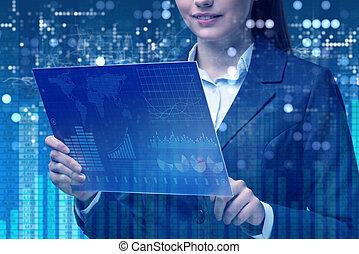 pojęcie, handlowy, kobieta interesu, handlarski online, pień