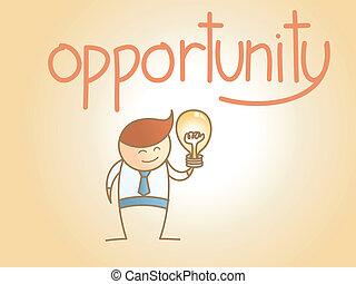 pojęcie, handlowy, litera, idea, nowy, sposobność, rysunek, człowiek