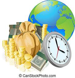 pojęcie, handlowy, pieniądze, kula, czas, świat