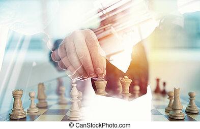 pojęcie, handlowy, podwójny, wyzwanie, strategia, osoba, gra, szachy, biuro., tactic., uzgadnianie, ekspozycja
