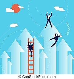 pojęcie, handlowy, powodzenie, mężczyźni, ilustracja, wspinać się