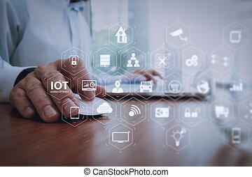 pojęcie, handlowy, pracujący, nowoczesny, ręka, biznesmen, strategia, technologia