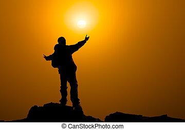 pojęcie, herb rozciągał, niebo, modlitwa, bliski, albo, wschód słońca, człowiek