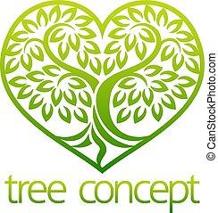 pojęcie, ikona, serce, drzewo