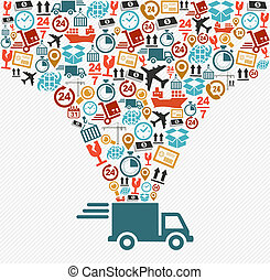 pojęcie, illustration., ikony, mocna dostawa, komplet, wózek, okrętowy