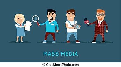 pojęcie, illustration., media, wektor, masa, chorągiew