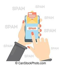 pojęcie, illustration., spam