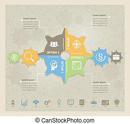 pojęcie, infographic, mechanizmy, handlowy