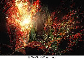 pojęcie, kaprys, las, tropikalny, surrealistyczny, dżungla, krajobraz, colors.
