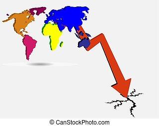 pojęcie, kryzys, ekonomiczny, wektor, świat