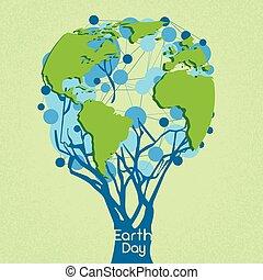 pojęcie, kula, drzewo, zielony, świat, obsypać dzień