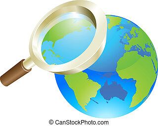 pojęcie, kula, szkło, świat, ziemia, powiększający