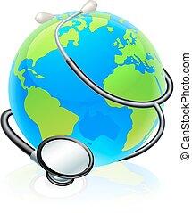 pojęcie, kula, zdrowie, świat, stetoskop, ziemia