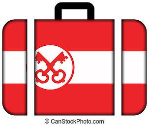 pojęcie, leiden., podróż, bandera, walizka, ikona, przewóz