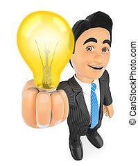 pojęcie, lekki, idea, zaświecić, biznesmen, bulb., 3d
