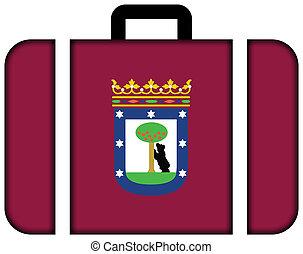 pojęcie, madrid., podróż, bandera, walizka, ikona, przewóz