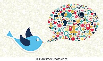 pojęcie, media, świergot, towarzyski, handel, ptak