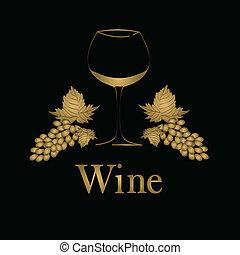 pojęcie, menu, szkło, wektor, grapes., design., wino