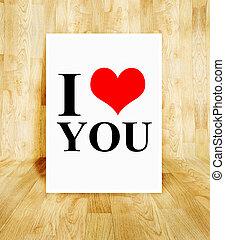 pojęcie, miłość, afisz, pokój, valentine, drewno, parkiet, słowo, biały, ty
