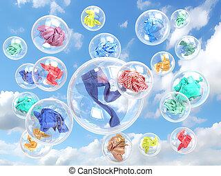 pojęcie, myć, niebo, tło, bańki, odzież, mydło