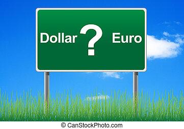 pojęcie, niebo, dolar znaczą, tło., euro, albo, droga