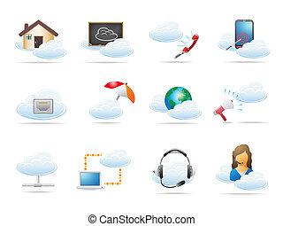 pojęcie, obliczanie, chmura, ikona