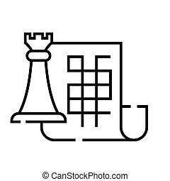 pojęcie, plan, strategiczny, wektor, ilustracja, szkic, znak, symbol., ikona, linearny, kreska
