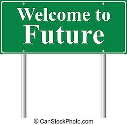 pojęcie, pożądany znaczą, zielony, przyszłość, droga